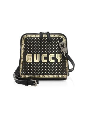 Guccy Logo Moon & Stars Leather Crossbody Bag - Black
