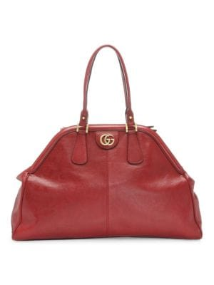 Large Re(Belle) Leather Satchel - Red in Natural