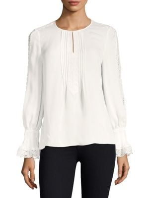 Lace Placket Silk Blouse by Kobi Halperin