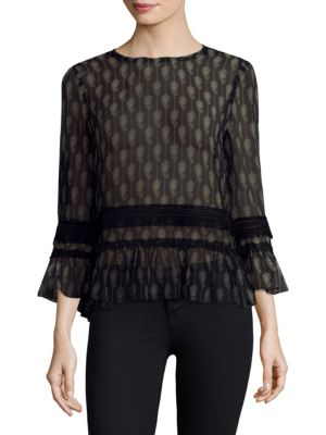 Kobi Halperin  Silk Bell Sleeve Top