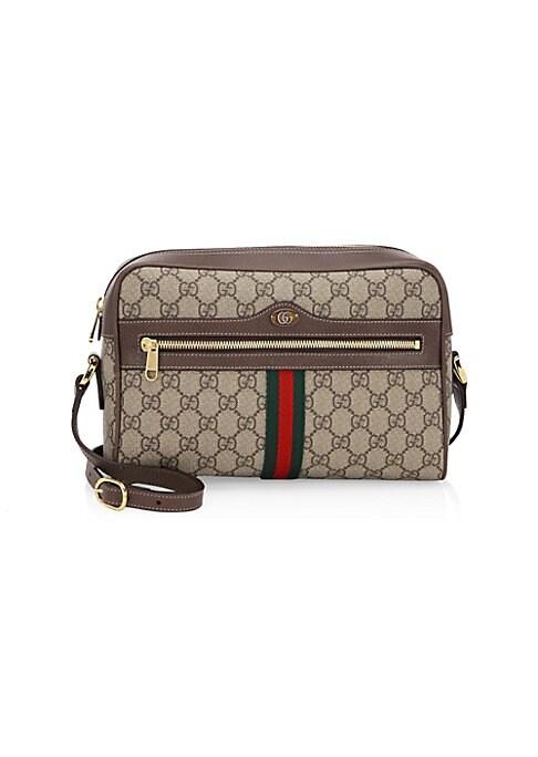"Image of Vintage details add style to distinguished camera bag. Adjustable shoulder strap. Top zip closure. Exterior zip pocket. Goldtone hardware. Interior zip pocket.10.5""W x 7""H x 3.5""D.Canvas. Made in Italy."