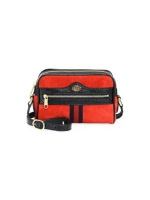 Ophidia Small Suede & Leather Crossbody Bag - Red