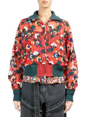 Sheer Floral Bomber Jacket, Red