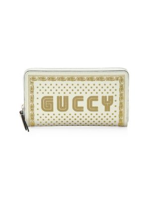 Guccy Moon Corn Leather Zip Walletin Sega® Font, White