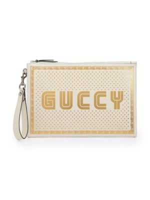 Guccy Moon & Stars Leather Zip Pouch - White