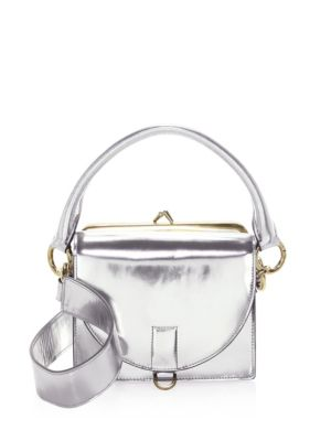 Silver Leather Satchel by Sacai