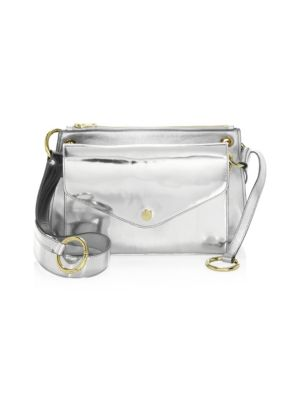 Modular Metallic Leather Pouch Shoulder Bag in Silver