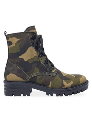 KENDALL AND KYLIE Epic3 Camouflage Moto Boots in Dark Green