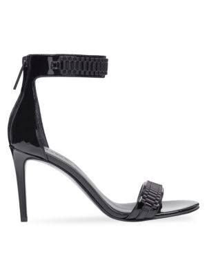 Mia Leather Ankle Strap Sandals, Black