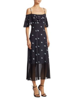Mcq Alexander Mcqueen Off-The-Shoulder Swallow-Print Maxi Dress - Black in Midnight Blue