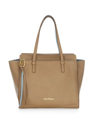 Large Amy Leather Tote - Beige, Tan