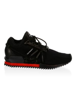 58e7ada2a Y-3 Harigane Leather-Trimmed Primeknit Sneakers - Black