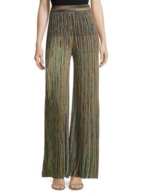 Striped Multicolor Lurex Pants, Navy