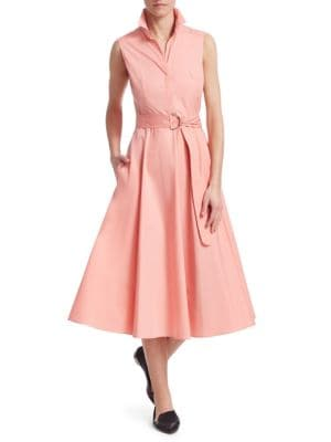 AKRIS PUNTO Sleeveless Button-Front Belted A-Line Cotton Midi Dress in Peony