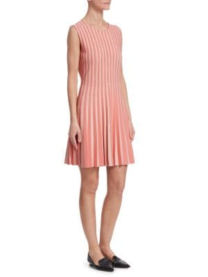 AKRIS PUNTO Crewneck Sleeveless Striped Pleated Dress in Rose Pink-Peony