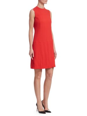 AKRIS PUNTO Sleeveless Crewneck Wool Shift Dress With Pleated Front in Red