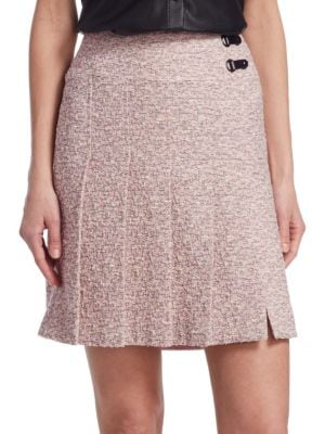AKRIS PUNTO A-Line Pleated Tweed Mini Skirt in Pink