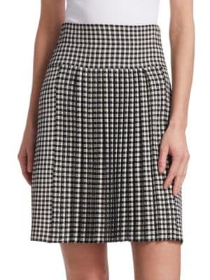 Glen-Check Pleated A-Line Knit Skirt in Black-Cream