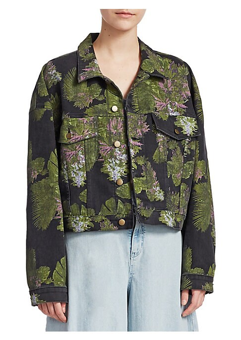 "Image of Beautiful botanical embroidery elevates boxy jacket. Spread collar. Long sleeves. Button cuffs. Button front. Chest buttoned flap pockets. Crop silhouette. About 22"" from shoulder to hem. Cotton/polyester/lycra. Dry clean. Imported. Model shown is 5'10"" ("