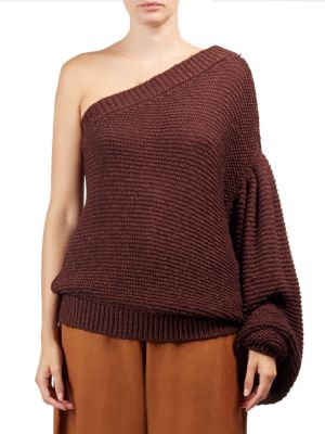 One-Shoulder Balloon-Sleeve Sweater in Brown