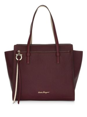 Large Amy Leather Tote - Burgundy, Wine