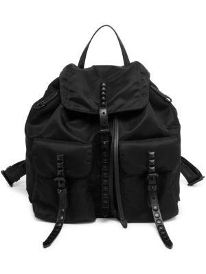 Studded Nylon Backpack, Black
