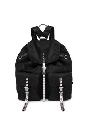 Black Nylon Backpack With Studding, Black Silver