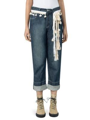 Rope-Trimmed Cropped Boyfriend Jeans, Blue Denim