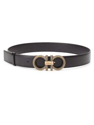 New Gancini Galuchat Leather Belt by Salvatore Ferragamo