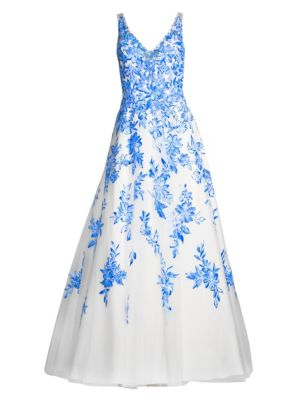 Blue White Sleeveless Floral A-Line Evening Gown in Blue/White