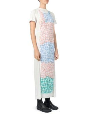 Gingham Poplin-Paneled Ribbed Cotton-Blend Dress in White