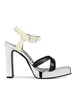 a137592fdb1 Gucci Metallic Leather Platform Sandals