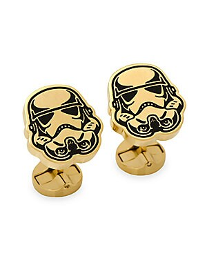 """Image of Essential Star Wars-inspired stainless steel cufflinks 0.5""""W x 0.75""""L Stainless steel Imported. Men Accessories - Jewelry > Saks Fifth Avenue. Cufflinks, Inc. Color: Gold."""