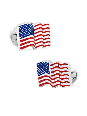 Image of Complete your ensemble with these patriotic links Sterling silver Fixed backing Imported. Men Accessories - Jewelry. Cufflinks, Inc. Color: Silver.