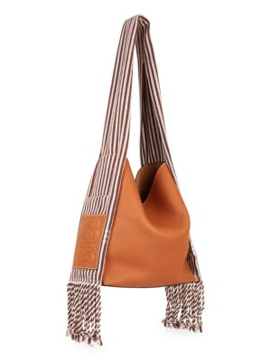 Scarf Striped Cotton-Trimmed Textured-Leather Shoulder Bag, Tan