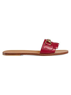 05e517ab5bea Gucci - Fringe Leather Horsebit Slide - saks.com