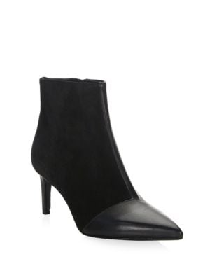 Beha Paneled Leather And Suede Ankle Boots, Black