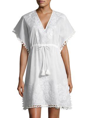 V-Neck Embroidered Caftan Coverup, White White