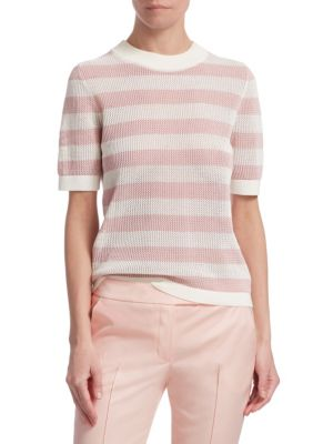 AKRIS PUNTO Crewneck Short-Sleeve Striped Knit Pullover Top in Rose Pink-Cream