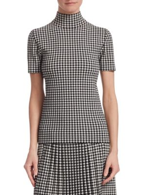 AKRIS PUNTO Turtleneck Short-Sleeve Check Knit Top in Black-Cream
