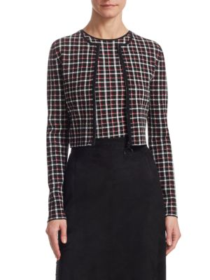AKRIS PUNTO Long-Sleeve Zip-Front Glen Check Knit Bolero in Black-Lipstick-Cream
