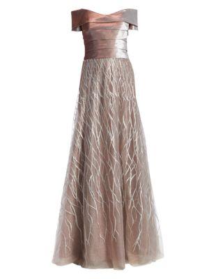 RENE RUIZ Off-The-Shoulder Embellished Gown in Champagne