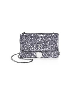 Small Finley Star Glitter Shoulder Bag - Grey, Gunmetal Mix