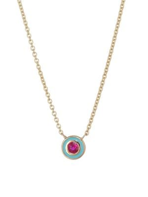 Sydney Evan Ruby Enamel Circle Pendant Necklace