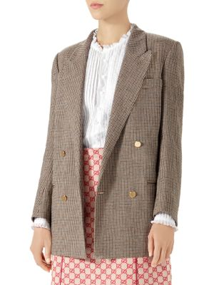 Double-Breasted Micro-Houndstooth Linen Jacket, Linen, Beige