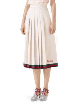 Pleated Embroidered Linen And Silk-Blend Midi Skirt, Gardenia/ B/ R/ V