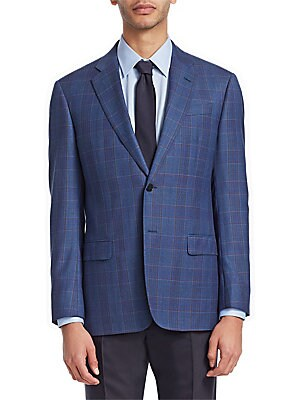 """Image of From the Saks IT LIST THE JACKET The wear everywhere layer that instantly dresses you up. Smart essential wool jacket with plaid design Notch collar Long sleeves Buttoned cuffs Button front Chest welt pockets Waist flap pockets About 27"""" from shoulder to"""