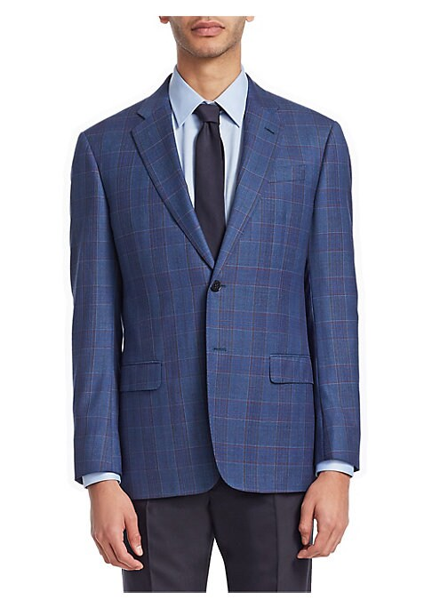 "Image of From the Saks IT LIST. THE JACKET. The wear everywhere layer that instantly dresses you up. Smart essential wool jacket with plaid design. Notch collar. Long sleeves. Buttoned cuffs. Button front. Chest welt pockets. Waist flap pockets. About 27"" from sho"