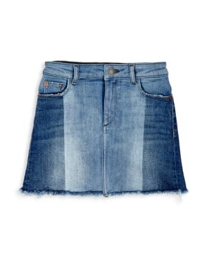 Toddlers Little Girls  Girls Mid Wash TwoTone Denim Skirt