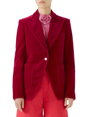 Velvet Single-Breasted Jacket in Claret